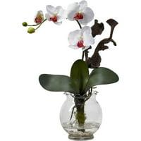 Nearly Natural Mini Phalaenopsis Silk Flower Arrangement with Fluted Vase, White