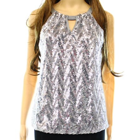 INC NEW Silver Womens Size Small S Sequin Halter Sleeveless Blouse