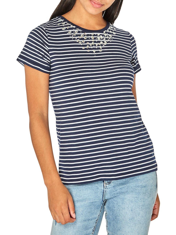 Short-Sleeve Striped Embellished Tee