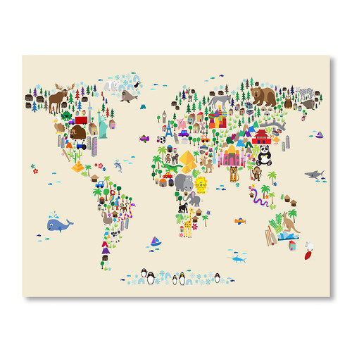 Americanflat Animal Map Wall Mural