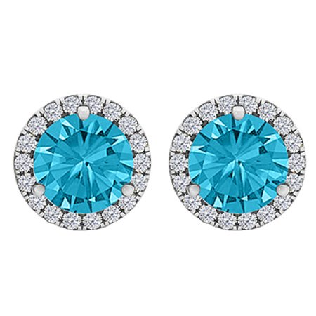 Blue Topaz CZ Round Halo Stud Earrings Sterling Silver - image 1 of 2