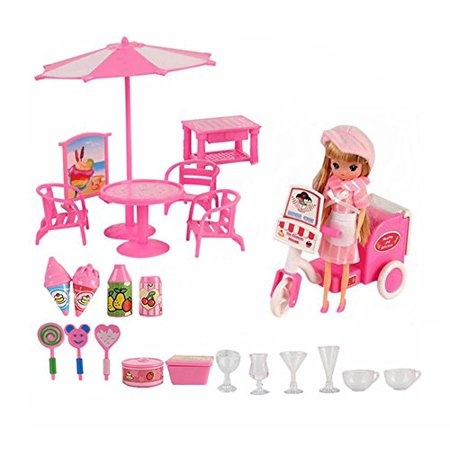 Complete Doll Accessory Mini Ice Cream Cold Drink Room Toy Play set Pretend Play food Doll With Scooter Included - Halloween Alcoholic Drinks With Dry Ice
