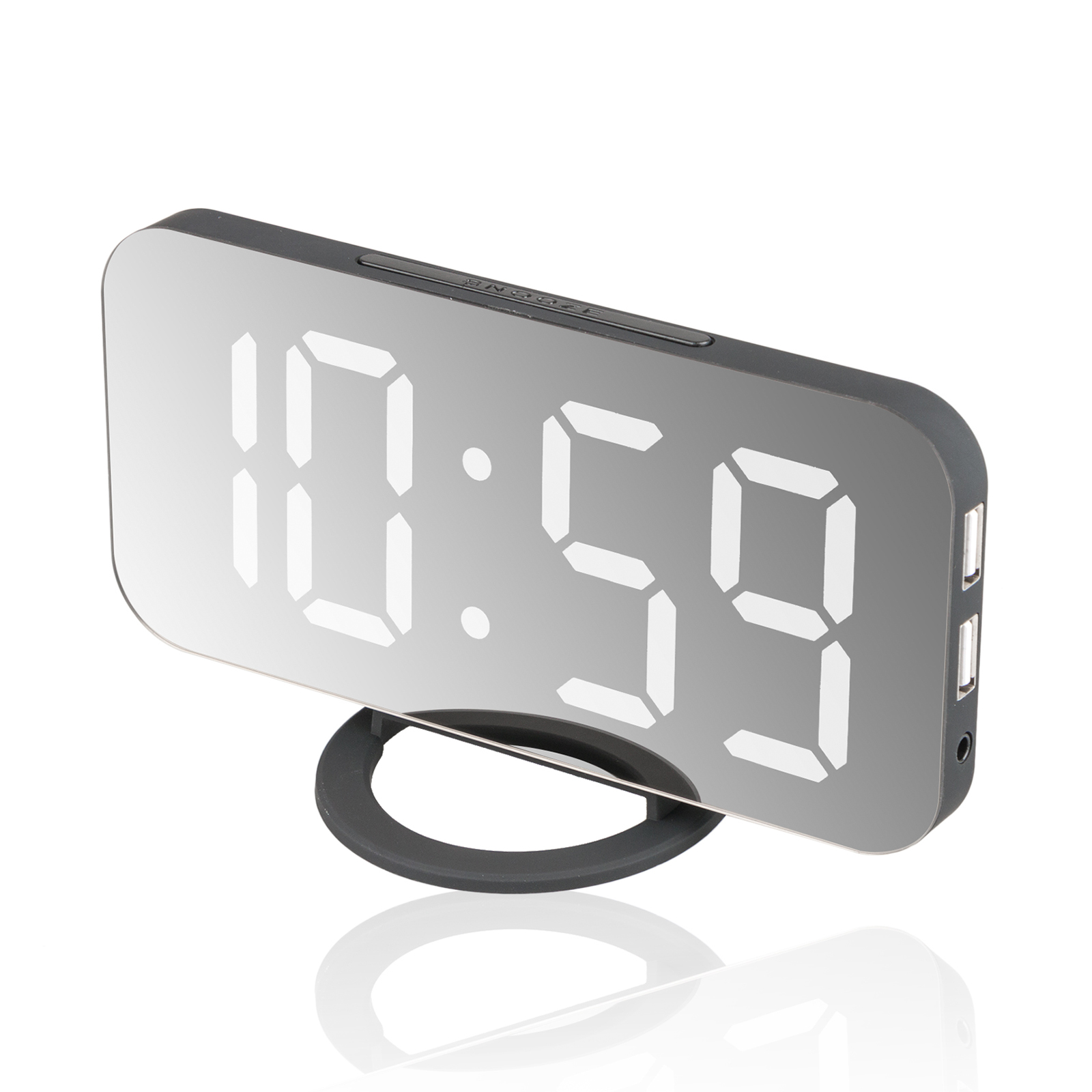 Alarm Clock Large Digital LED Display Sensor Automatic Portable Modern Battery Operated Mirror, Soft Light Snooze Desk, Night Mode (Included Battery)