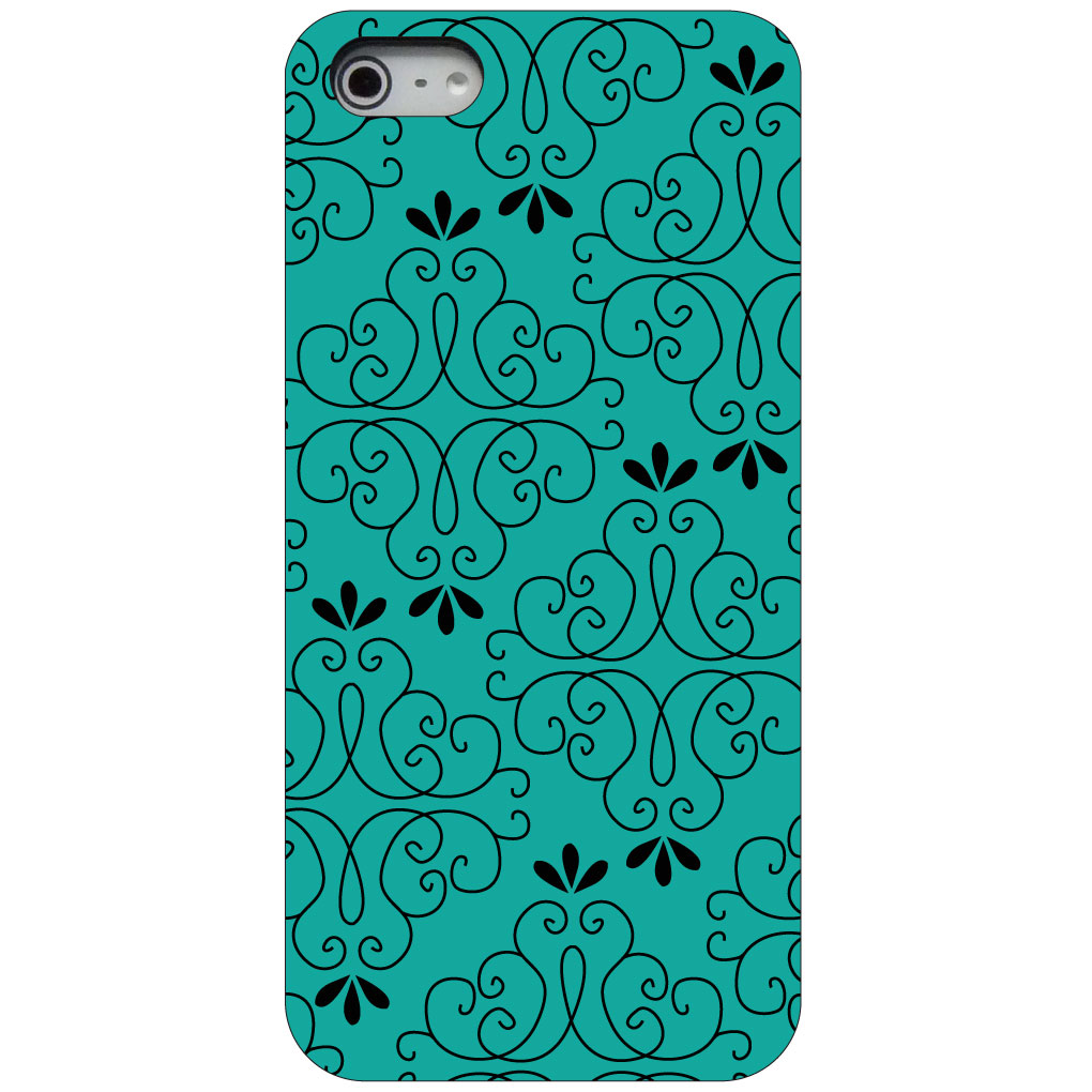 CUSTOM Black Hard Plastic Snap-On Case for Apple iPhone 5 / 5S / SE - Coral Blue Black Floral Pattern