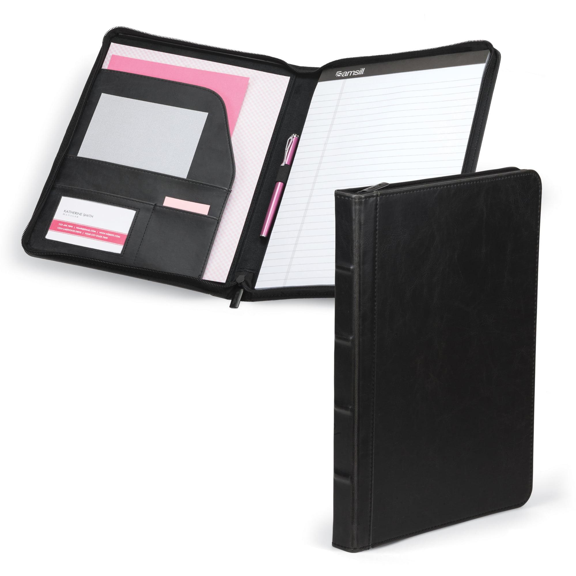 "Samsill Vintage Hardback Zipper Padfolio, 8.5""x11"" Writing Pad Included, Dark Brown"