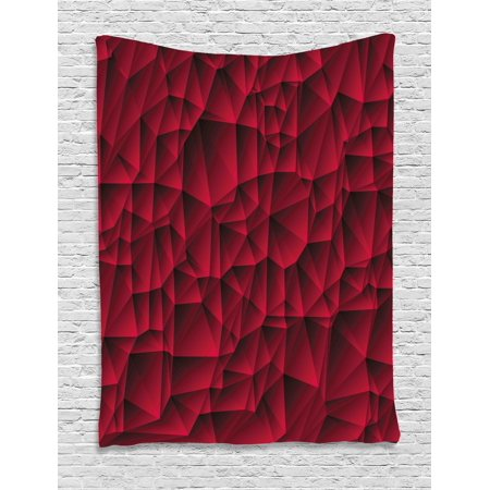 Art Deco Backdrop (Maroon Decor Tapestry, Modern Geometric Contemporary Art Wave Like Shapes with Abstract Backdrop Image, Wall Hanging for Bedroom Living Room Dorm Decor, 40W X 60L Inches, Maroon, by)