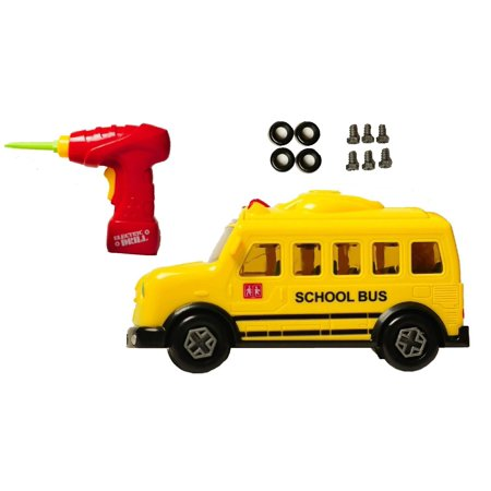 School Bus Take-A-Part Toy for Kids with 15 Take Apart Pieces, Tool Drill, Lights and Sounds