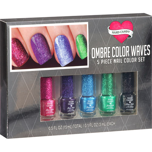 Hard Candy Ombre Color Waves Nail Color Set, Rainbow, 5 pc