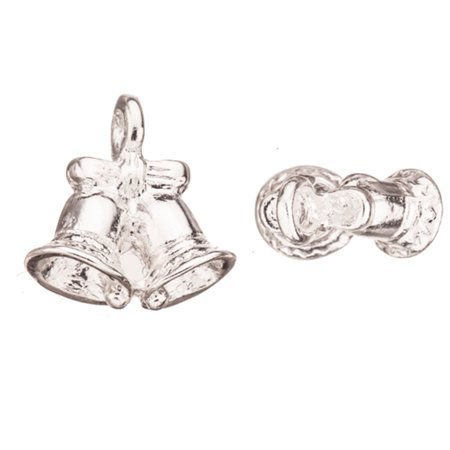Christmas Bells Silver-Plated Charm 16x17mm Sold per pkg of 4pcs