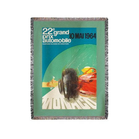 22E Grand Prix   10 Mai 1964 Vintage Poster  Artist  May  France C  1964  60X80 Woven Chenille Yarn Blanket