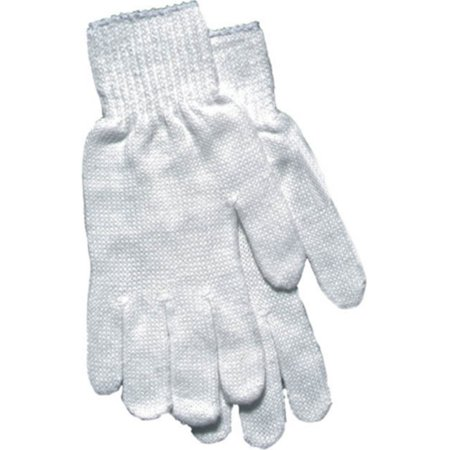 Women's White Reversible String Knit Gloves