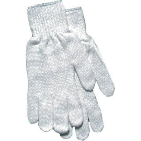 Women's White Reversible String Knit Gloves