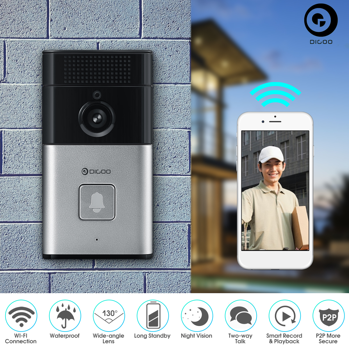 DIGOO Wireless WIFI Video Doorbell, Smart Doorbell 720P HD Security Camera,Real-Time Two-Way Talk and Video, Night Vision, PIR Motion Detection and App Control for IOS and Android