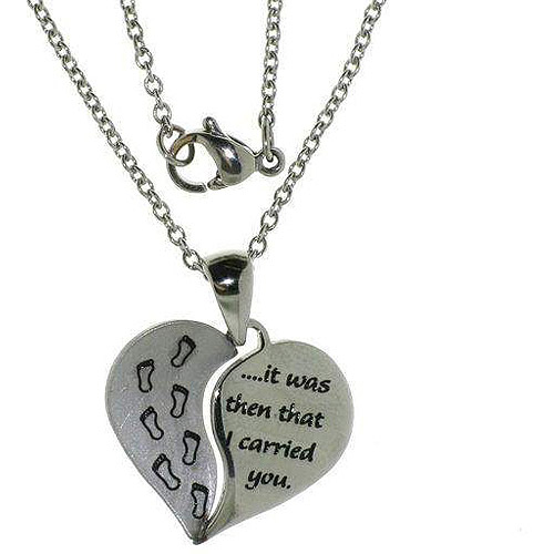 Connections from Hallmark Stainless-Steel Inscribed Baby Footsteps Heart Pendant, 18-20""