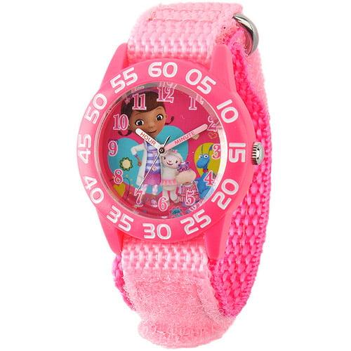 Disney Hallie, Stuffy, Lambie, Doc McStuffins Girls' Plastic Case Watch, Pink Nylon Strap