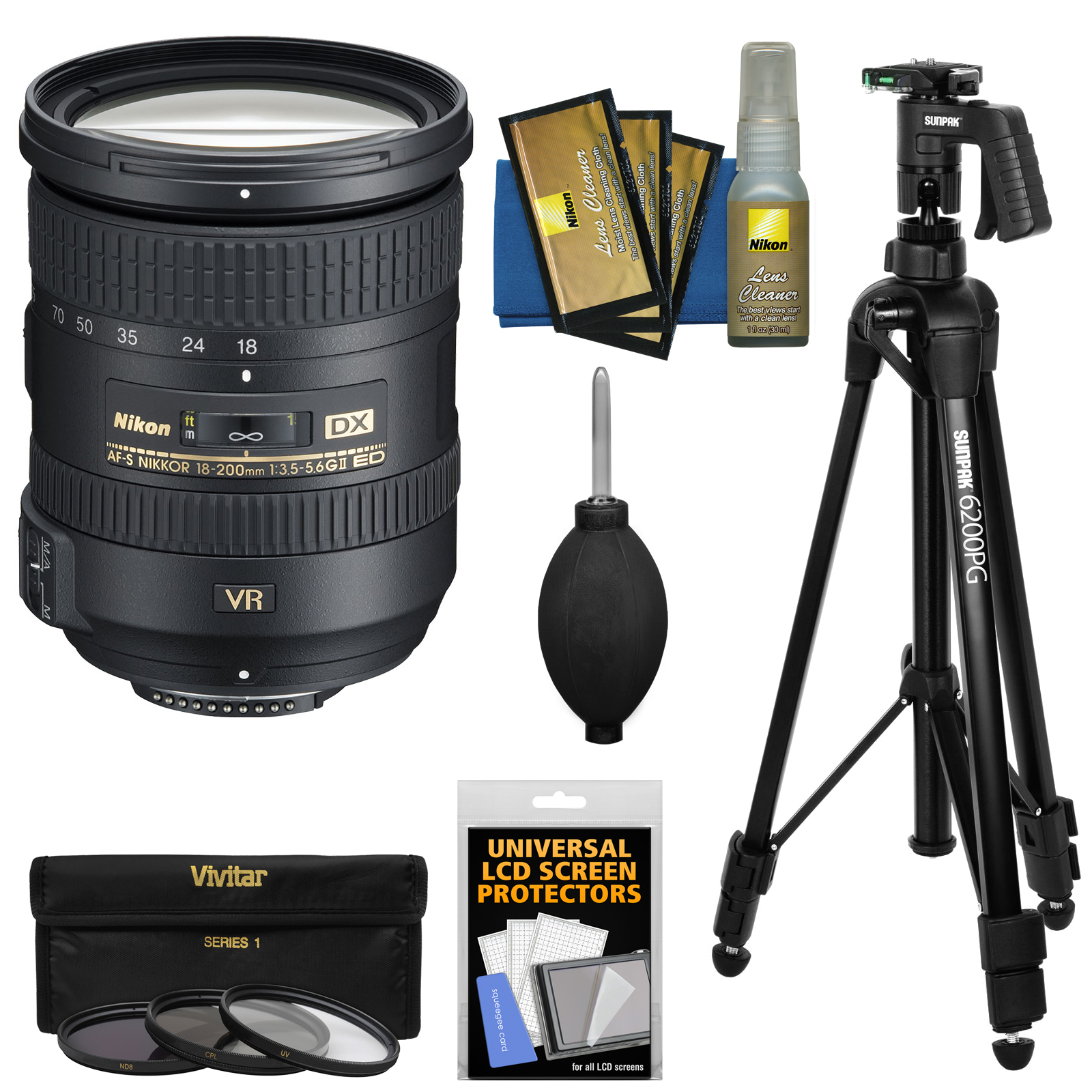 Nikon 18-200mm f/3.5-5.6G VR II DX ED AF-S Nikkor-Zoom Lens + 3 Filters + Pistol Grip Tripod Kit for D3200, D3300, D5300, D5500, D7100, D7200 Camera