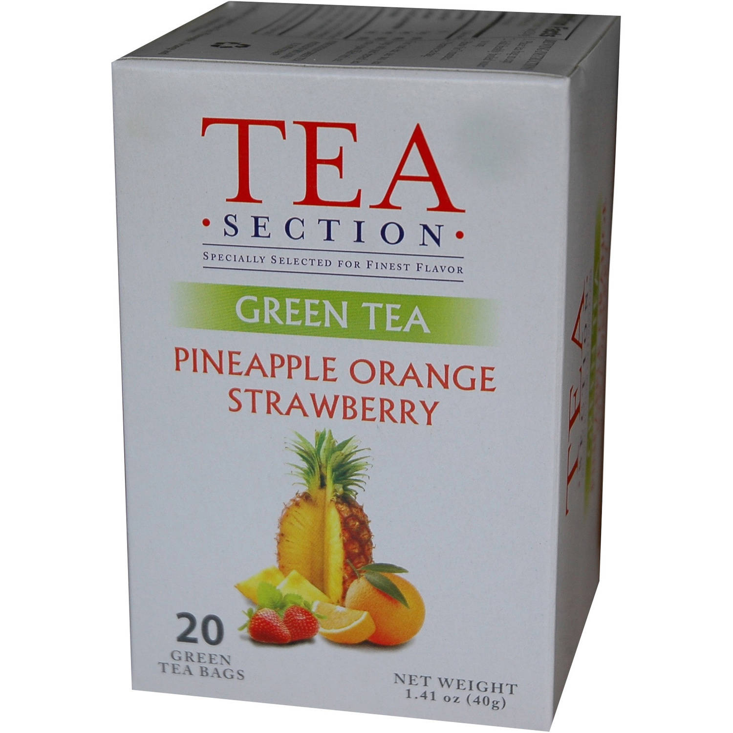 Tea Section Pineapple Orange Strawberry Green Tea Bags, 20 count