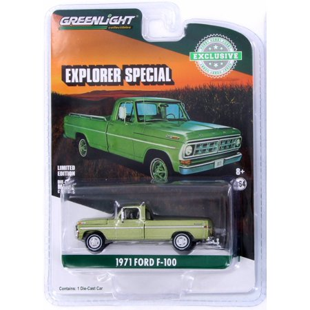 1971 Ford F-100 Explorer, Lime Gold Metallic - Greenlight 29968/48 - 1/64 Scale Diecast Model Toy Car - Lime Metallic Footwear
