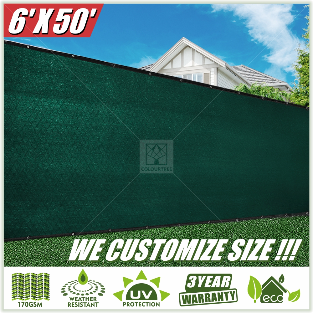 ColourTree 6' x 50' Privacy Fence Screen Fence Cover Fabric Mesh Green - Commercial Grade 170 GSM - Heavy Duty - 3 Years Warranty CUSTOM SIZE AVAILABLE