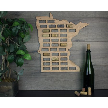 Wine Cork Traps State of Minnesota Wooden Wine Cork Holder Organizer Wall Decoration ()