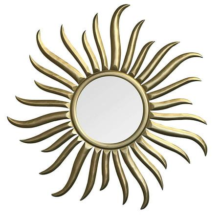 Decorshore Roi Soleil Hand Carved Gilded Wood Sun Wall Sculpture Mirror 35 Inch Rococo Style Decorative Art Wall Mirror In Sunburst Shape
