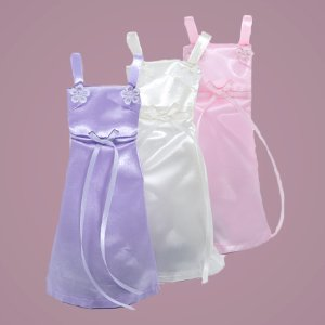 Pink Satin Wedding Dress Favor Bags  by Paper Mart