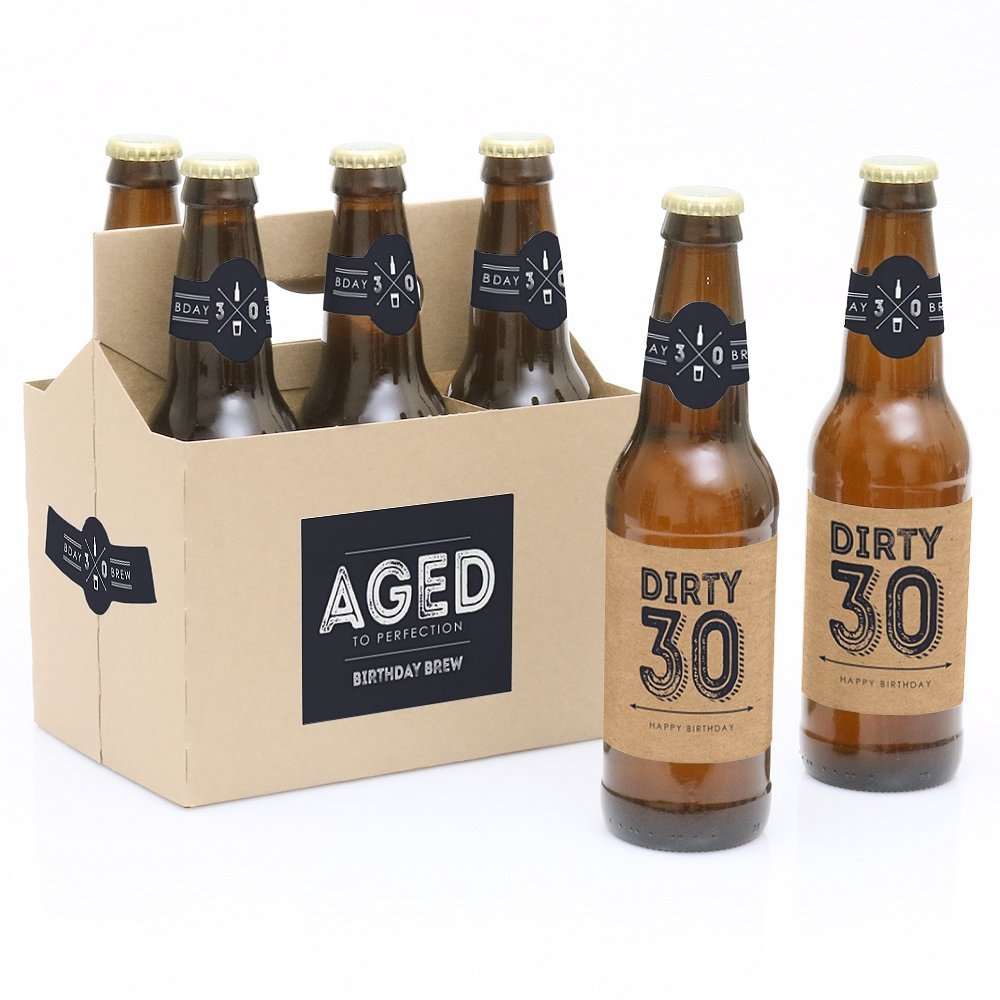 30th Milestone Birthday - 6 Birthday Beer Bottle Labels with 1 Beer Carrier