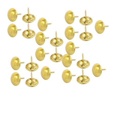 14mm Dia Round Head Upholstery Nail Tack Push Pin Thumbtack Gold Tone 25PCS