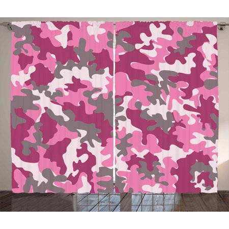 Camo Curtains 2 Panels Set Cute Sweet Pattern In Pink Tones
