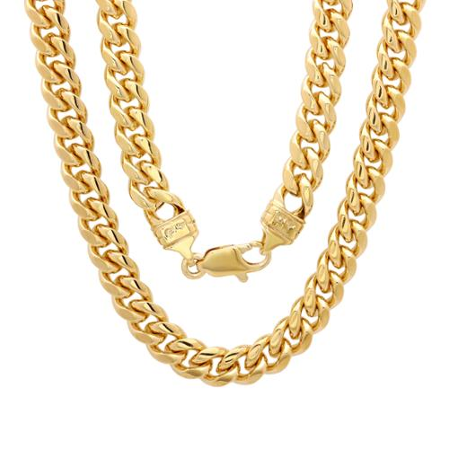Sterling Essentials Bronze with 14k Goldplating 5.5mm Cuban Link Chain ( 22-30 inch) Length 22 inches
