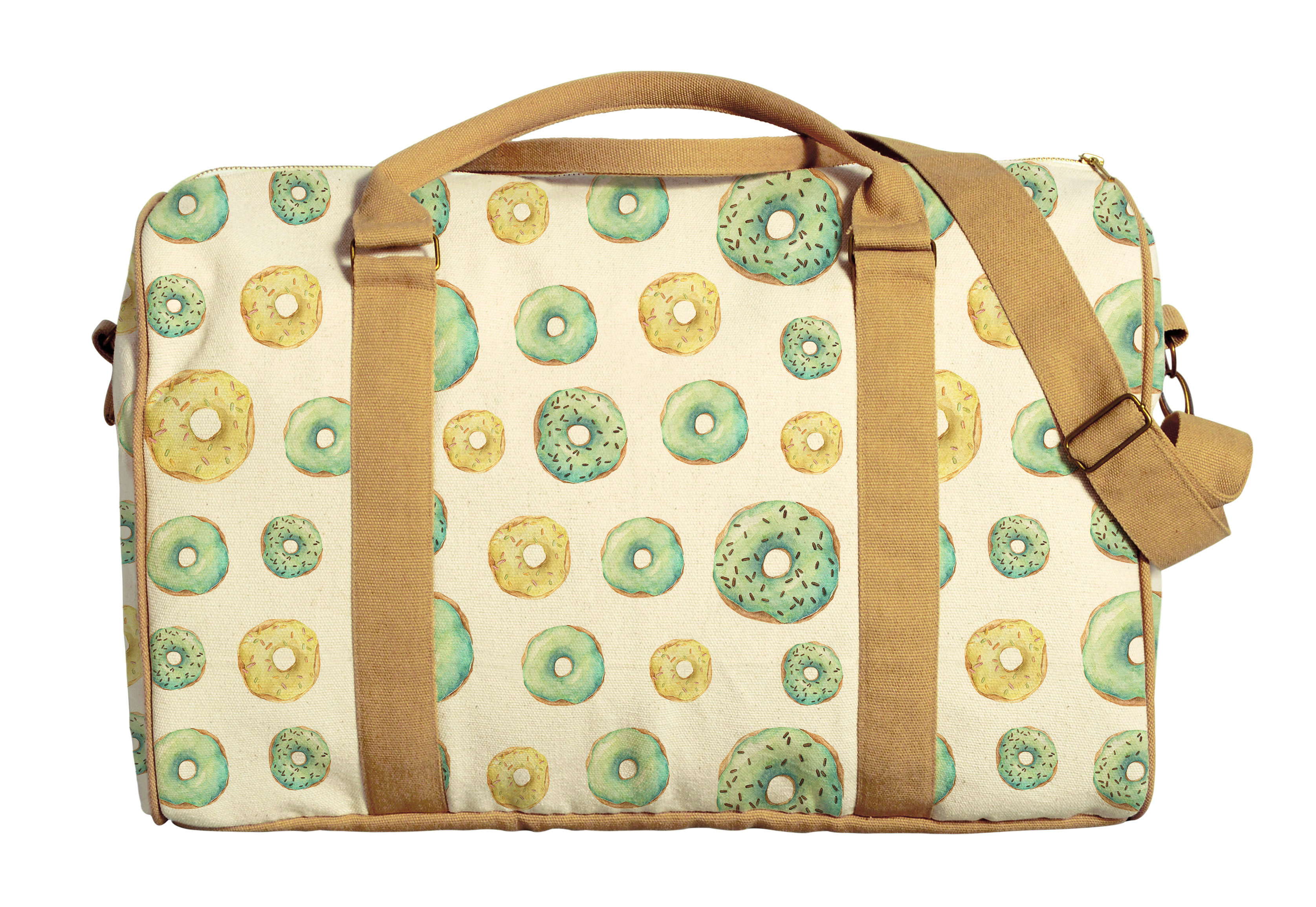 Lemon and Banana Frosted Donuts Printed Canvas Duffle Luggage Travel Bag WAS_42 by Vietsbay