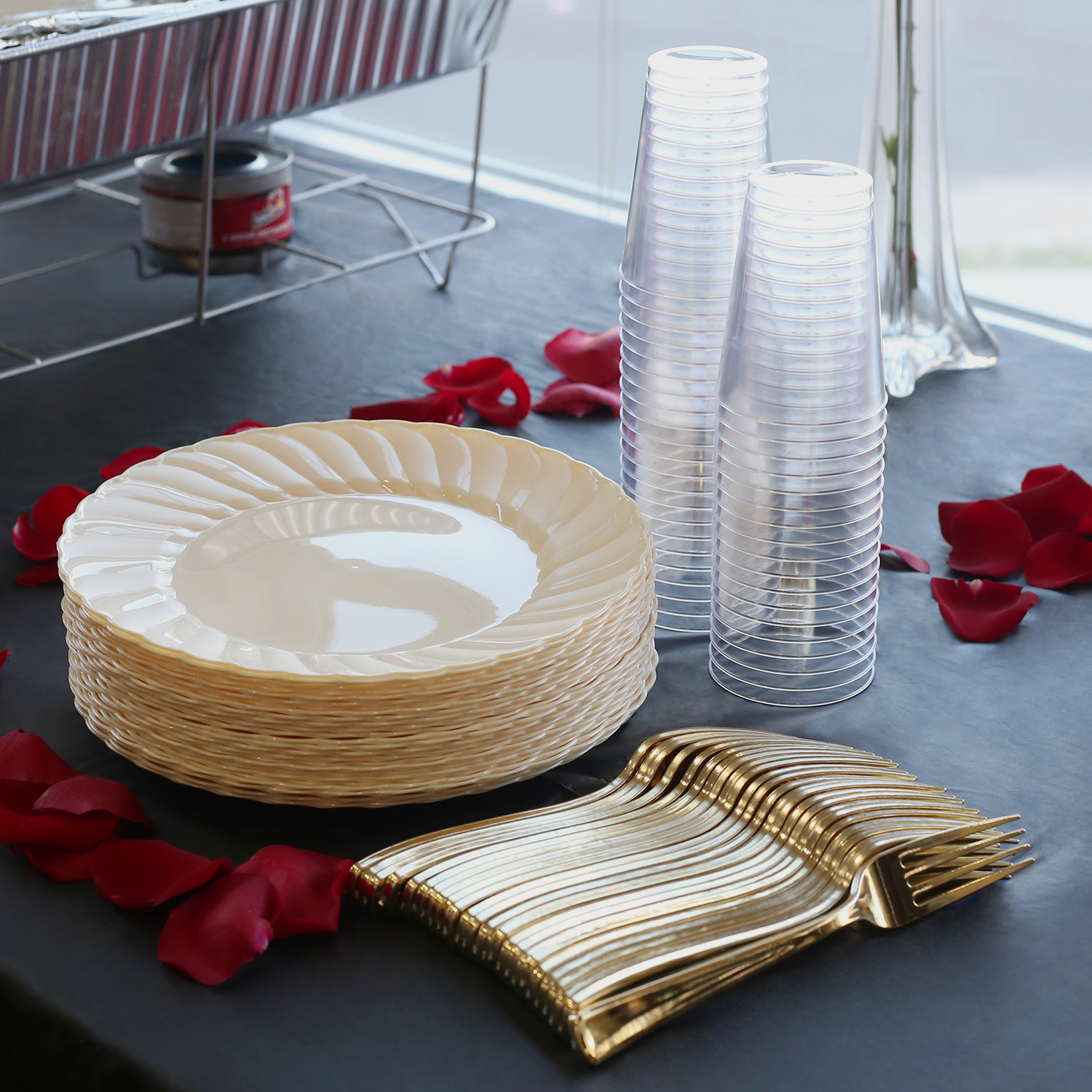 Kaya Collection - Bone Disposable Plastic Buffet Party Package - Includes Buffet Plates Gold Forks and Tumblers (180 Person Package) & Kaya Collection - Bone Disposable Plastic Buffet Party Package ...