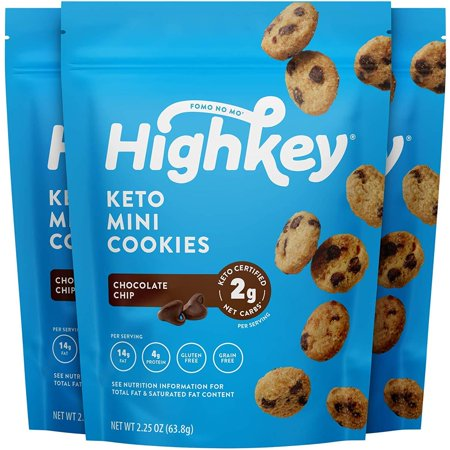 HighKey Snacks Keto Food Low Carb Snack Cookies, Chocolate Chip, 3 Pack - Gluten Free & No Sugar Added, Healthy Diabetic, Paleo, Dessert Sweets, Diet Foods 3-Pack Chocolate Chip Lemon Sugar Free Cookies