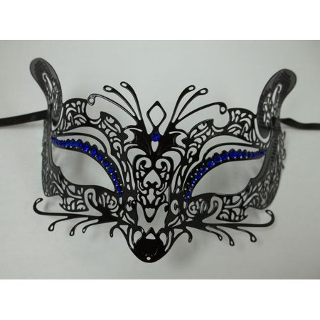Black Blue Fox Cat Rhinestone Laser Cut Venetian Mask Masquerade Metal Filigree](Guy Fox Mask)