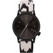 Mens Winston Print Series Stainless Steel Case Genuine Leather Black Watch - KOM-W2157