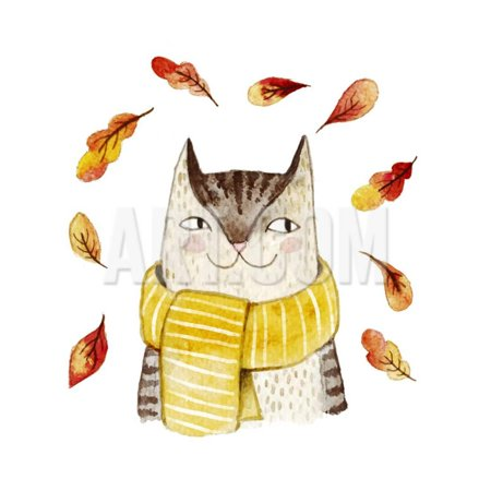 Leaves Coat (Cute Cat in Scarf with Autumn Leaves. Watercolor Illustration with Domestic Animal. Lovely Pet. Han Print Wall Art By Maria Sem)