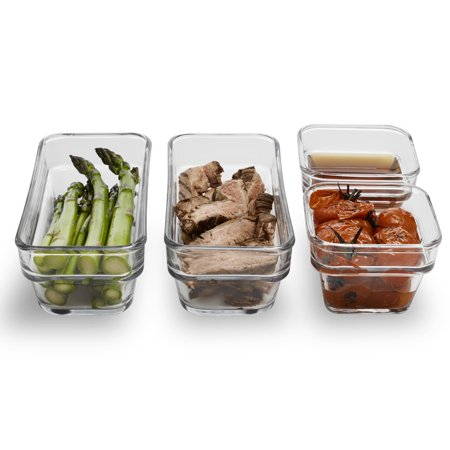 Libbey Stack It Medium Glass Storage Containers with Lids, Set of 4 4 Section Single Stack