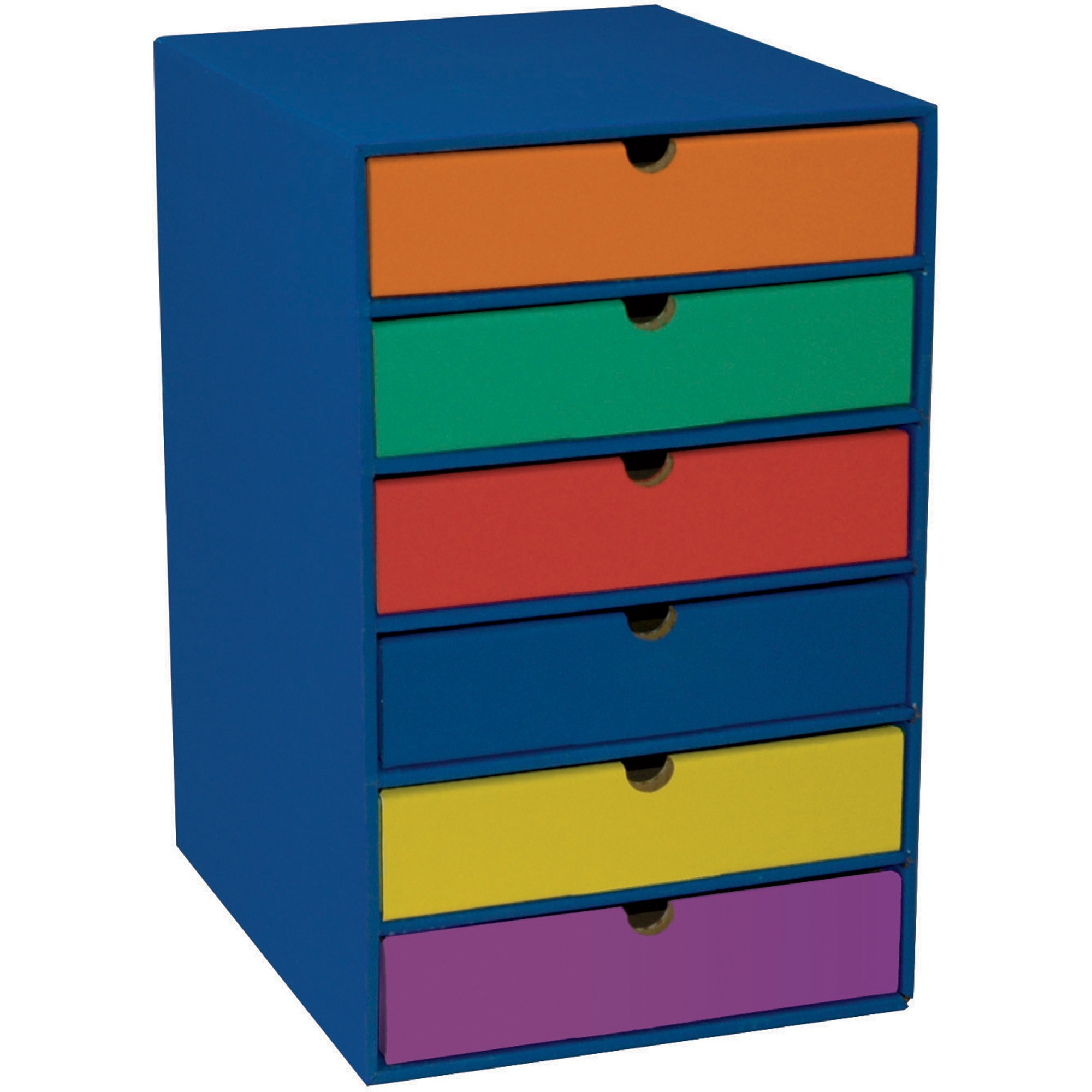 Classroom Keepers Blue 6-Shelf Organizer & Multi-Colored Drawers