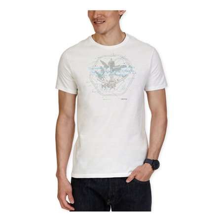 Nautica Mens Nautical Map Graphic T-Shirt Off Mens Clothing