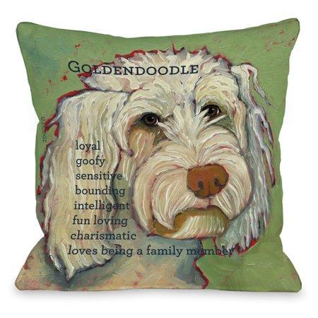 Throw Pillow Doodle : OneBellaCasa Golden Doodle Throw Pillow - Walmart.com
