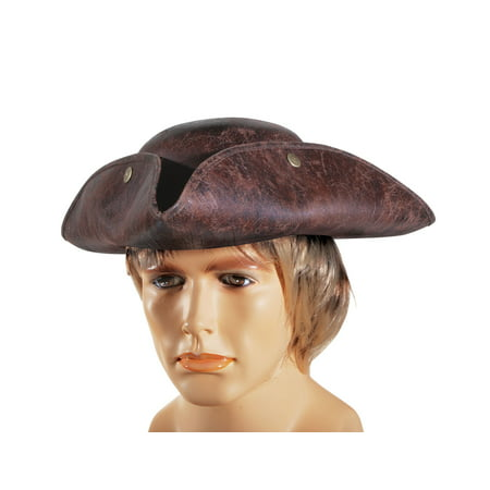 Pirate Hats For Sale (Star Power Adult Leatherette Pirate Tri-Corner Costume Hat, Brown, One)