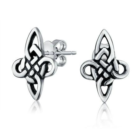 Bling Jewelry Woven Knot Celtic Cross Stud Earrings 925 Sterling Silver