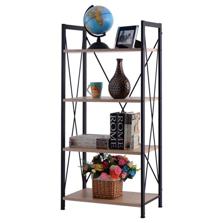 Costway 4 Tire Wooden Bookshelf Bookcase Steel Storage Display Shelf Furniture Home