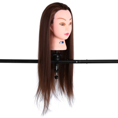24 inch Human Hair Training Practice Head Mannequin Hairdressing + Clamp Holder (Mannequin Head Human Hair)