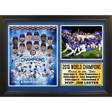 - 12x18 Photo Stat Frame, Chicago Cubs 2016 World Series Champions