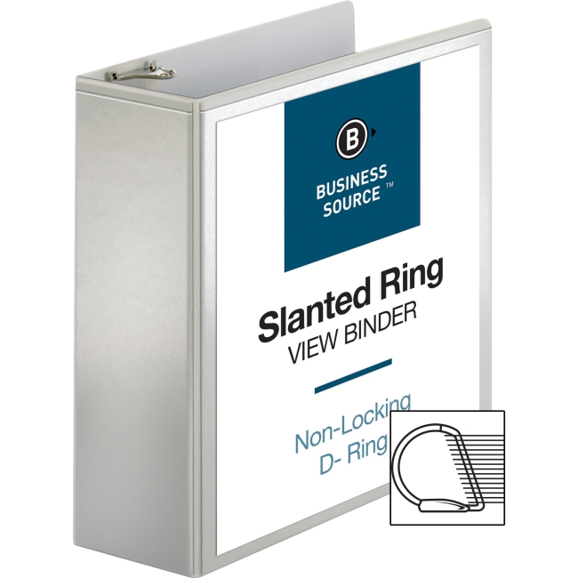 "Business Source Basic D-Ring White View Binders - 4"" Binder Capacity - D-Ring Fastener - Polypropylene - White - 1.75 lb - 1 Each"
