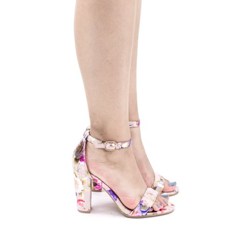 Frenzy41 by Bella Luna, Metallic Floral Ankle Wrap Sandal On High Block Heel