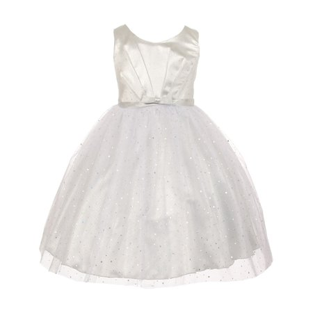 Kids Dream Little Girls Silver Bodice Bow Sparkle Tulle Occasion Dress 2 - Girls Silver Dresses