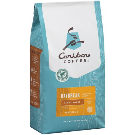 Caribou Coffee Daybreak Light Roast Ground Coffee, 20 oz Wood Roasted Coffee