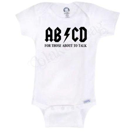 AB CD AC DC Funny Novelty Baby Onesie Boy Girl Clothes Bodysuit Blakenreag (24 Months) (Baby Novelties)